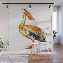 Pelican watercolor painting Wall Mural