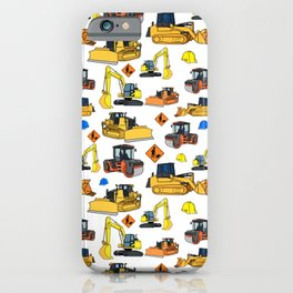 Construction Vehicles Pattern iPhone Case