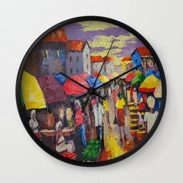 A Busy Crowded Market Wall Clock