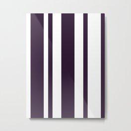 Mixed Vertical Stripes - White and Dark Purple Metal Print