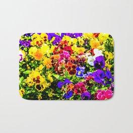 Viola Tricolor Pansy Flowers Bath Mat