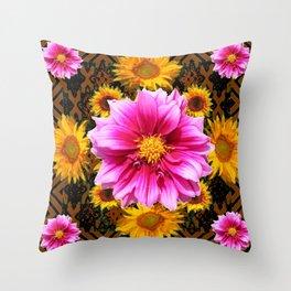 Coffee Brown Yellow Sunflowers Purple Dahlias Art Throw Pillow