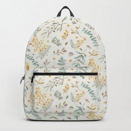 Australian wattle and eucalyptus watercolor floral Backpack