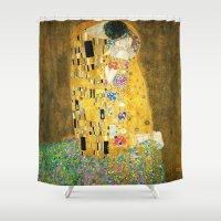 gustav klimt Shower Curtains featuring Gustav Klimt The Kiss by Art Gallery