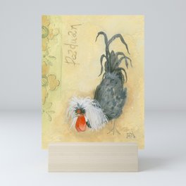 Tuscan Rooster Black Mini Art Print