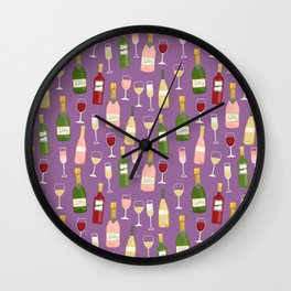 Rose drinks champagne wine bar art food fight apparel and gifts purple Wall Clock