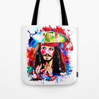 jack sparrow Tote Bags featuring Captain Jack Sparrow by isabelsalvadorvisualarts