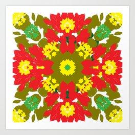 Colorful Leaves Mandala Art Print