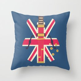 Union Jack Flag Guitar - Navy Throw Pillow