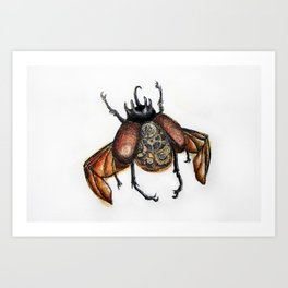 Steam punk beetle Art Print