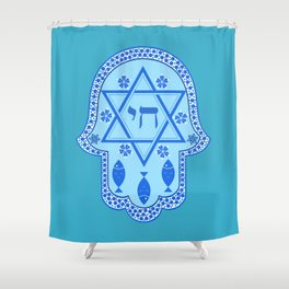 Hamsa for blessings, protection and strength - Turquoise Shower Curtain