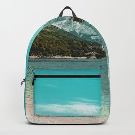 Teal Ocean Beach | Caribbean Clear Beaches Water Waves in Europe Mountain Landscape Beautiful Sky Backpack