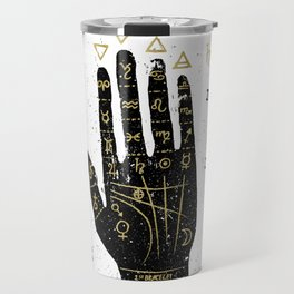 Palmistry, chiromancy - black hand Travel Mug