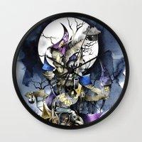 nightmare before christmas Wall Clocks featuring The nightmare before christmas by Sandra Ink