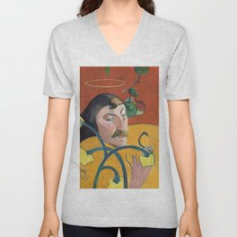 Self-Portrait with Halo and Snake by Paul Gauguin Unisex V-Neck