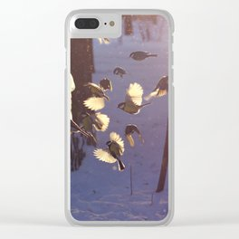 titmouse flew to the feeder in winter Clear iPhone Case
