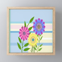 Modern Plaid and Flowers Framed Mini Art Print