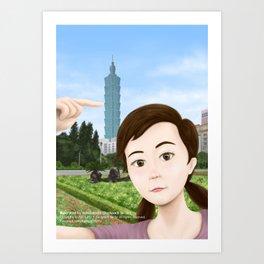 Fern Selfie with Taipei 101 Art Print