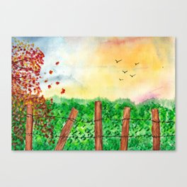 Sunset Landscape Watercolor Canvas Print