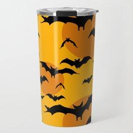 Abstract orange yellow black halloween bats animal pattern Travel Mug