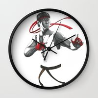 street fighter Wall Clocks featuring Ryu Street Fighter by Papan Seniman