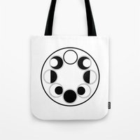 moon phase Tote Bags featuring Moon Phase Circle by Mind Over Matter