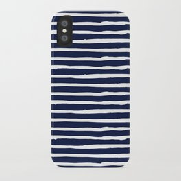 Navy Blue Stripes on White II iPhone Case
