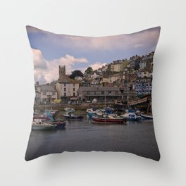 Brixham Harbour Throw Pillow