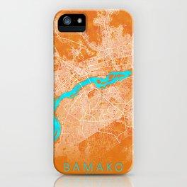 Bamako, Mali, Gold, Blue, City, Map iPhone Case