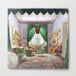 Interior with a Curtained Bed Alcove Metal Print