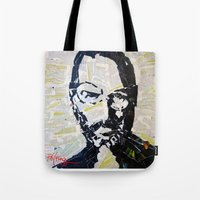 steve jobs Tote Bags featuring Steve Jobs by Phil Fung