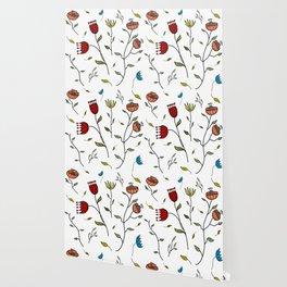 Floral Spice, Flowers Print Pattern Wallpaper