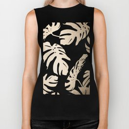 Simply Tropical White Gold Sands Palm Leaves on Dots Biker Tank