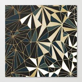 New Art Deco Geometric Pattern - Emerald green and Gold Canvas Print