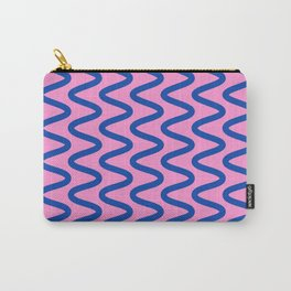 Squiggly Lines in Bright Pink and Blue Carry-All Pouch