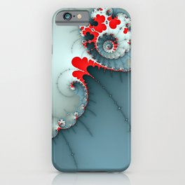 Deep Blue and Red Spiral Abstract iPhone Case