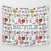 bicycles Wall Tapestries featuring Rules of the Road and Bicycles by naturessol