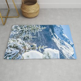 Powder Forest // Through the Trees Blue Snow Cap Mountain Backdrop Rug