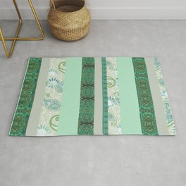 French Stripe Green/Grey Rug