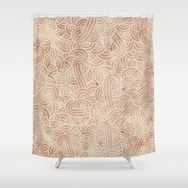 Iced coffee and white swirls doodles Shower Curtain