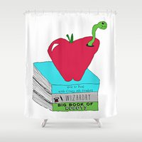 bookworm Shower Curtains featuring Bookworm by Atomic Starlights