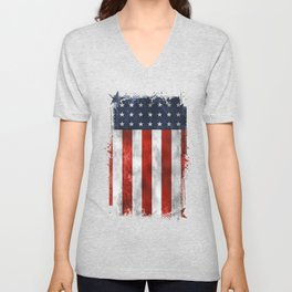 American Flag Stars and Stripes Distressed Grunge 4th. July Unisex V-Neck