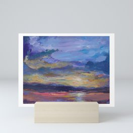 Colorado sunset over lake Mini Art Print