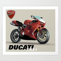 ducati Art Prints featuring Ducati by Ryan Miller