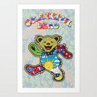 grateful dead Art Prints featuring Grateful Dead (Vector Art) by Troy Arthur Graphics