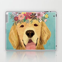 Golden Retriever Dog with Floral Crown Art Print – Funny Decoration Gift – Cute Room Decor – Poster Laptop & iPad Skin