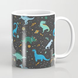 Dinosaurs in Space in Blue Coffee Mug