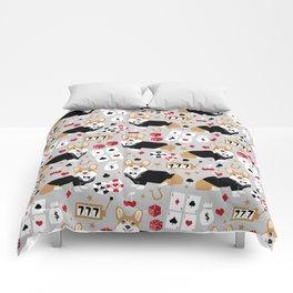 Corgi blackjack poker night dog breed pet art tuxedo red welsh corgi Comforters
