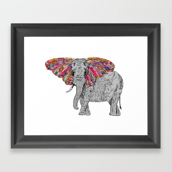 Bella The Happy Butterphant Framed Art Print