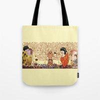 klimt Tote Bags featuring Kokeshis Klimt by Pendientera